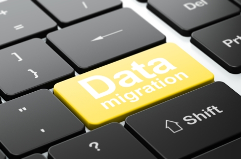 Data Migration on computer keyboard background